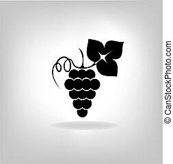 silhouette, de, raisins