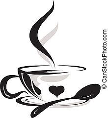 silhouette, de, tasse, café, amant
