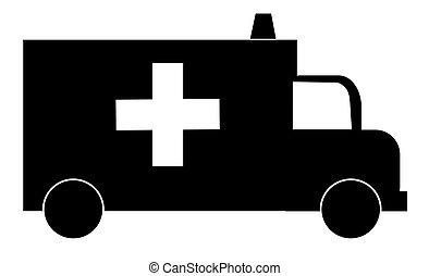 silhouette, de, une, ambulance, à, croix rouge, et, sirène