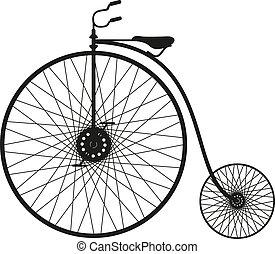 silhouette, de, une, vieille bicyclette