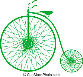 silhouette, de, vendange, vélo