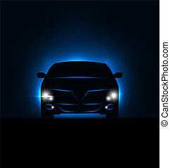 silhouette, de, voiture, à, phares, dans, obscurité