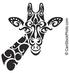 silhouette., decorativo, ornamental, girafa