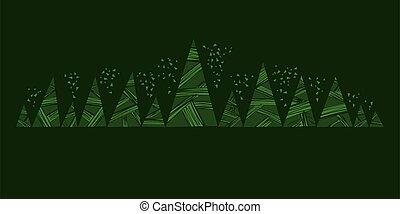 silhouette, decorativo, semplice, forest., profondo, verde