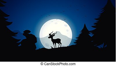 Silhouette Deer at Night Forest