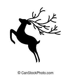 silhouette deer horns on white background