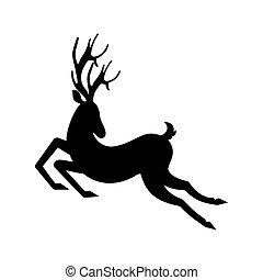 Silhouette Deer Running. Reindeer Moving. Leaping Stag -...