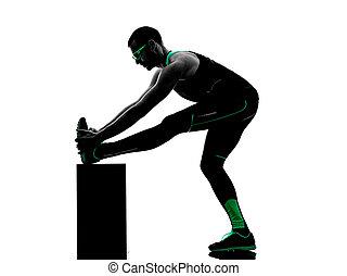 silhouette, dehnen, auf, fitness, übungen, wärmen, mann