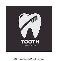 silhouette, dentaire, dent, brosse dents, forme, gabarit, logo, sur, soin