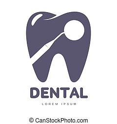 silhouette, dentaire, dent, forme, gabarit, miroir, logo, sur, soin