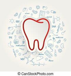 silhouette, dente, fondo., vettore, sanità, handdrawn, doodles