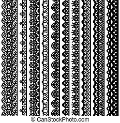 silhouette, dentelle, vertical, blanc, seamless, collection, isolé, arrière-plan., noir, laser, cutting., suitable, frontières, design.