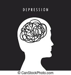 silhouette, depressione, mentale, testa maschia, salute, concetto