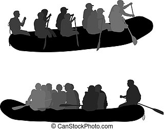 Silhouette descent on a river water rafters on a white background