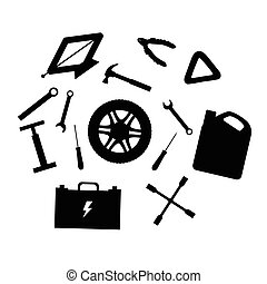 Silhouette design elements of Car service and diagnostic. Auto mechanic repair of machines. Mechanic Tools and equipment set.