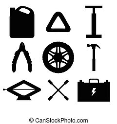 Silhouette design elements of Car service and diagnostic. ...