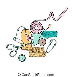 silhouette, dessiné, étiquette, aiguille, encre, pièce, fils, étiquette, ciseaux, main, set., couture, épingle, sécurité, pen.