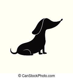 silhouette, dessin animé, pose., chien, saucisse, -, séance, chouchou, obéissant, teckel