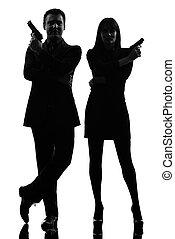 silhouette, detective, geheim, man, paar, vrouw, crimineel, agent