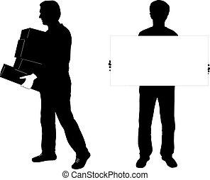 silhouette, deux, homme