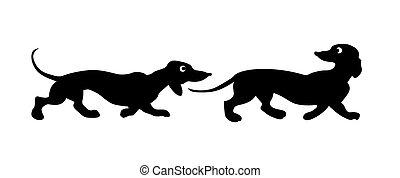 silhouette, deux, vecteur, fond, blanc, chiens