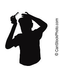 silhouette, di, adolescente, pettinatura, suo, capelli
