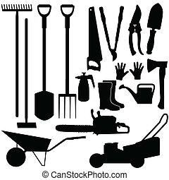 silhouette, di, attrezzi gardening, vettore
