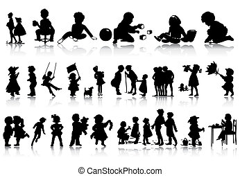 silhouette, di, bambini, in, vario, situations., uno,...