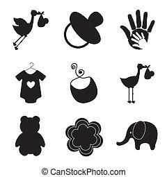 silhouette, di, bambino, articoli