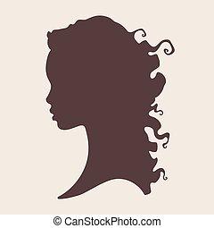 silhouette, di, bello, riccio, donna africana