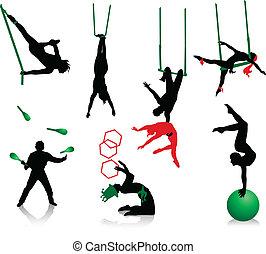 silhouette, di, circo, performers.