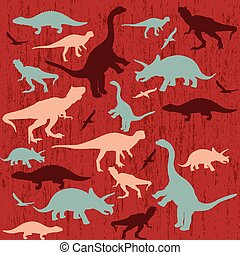 silhouette, di, dinosauro