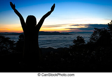 silhouette, di, donna felice