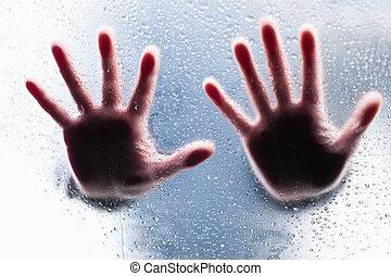 silhouette, di, due, destra, mani, dietro, bagnato, vetro
