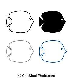 silhouette, di, fish-, vettore, illustrazione