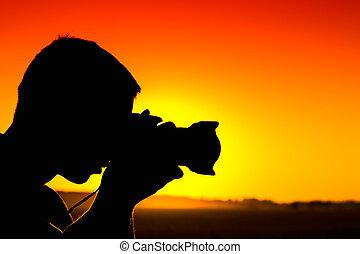 silhouette, di, fotografo