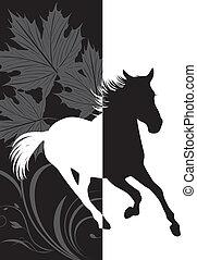 silhouette, di, fretta, cavallo