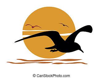 silhouette, di, gabbiano, su, mare, tramonto