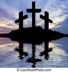 silhouette, di, gesù cristo, crocifissione, su, croce, su, venerdì santo, pasqua, riflesso, acqua lago
