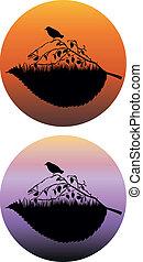 silhouette, di, il, uccello