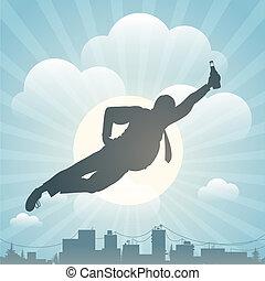 silhouette, di, il, uomo, volare, sopra, città