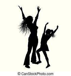 silhouette, di, madre figlia, con, bracci alzati, in, gioia