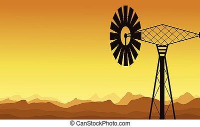 silhouette, di, mulino vento, a, alba