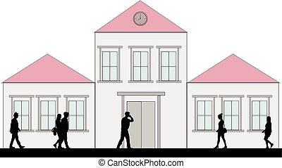 silhouette, di, persone affari, camminare.