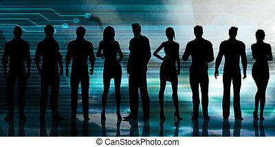 silhouette, di, persone affari, lavorativo