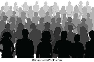 silhouette, di, persone affari
