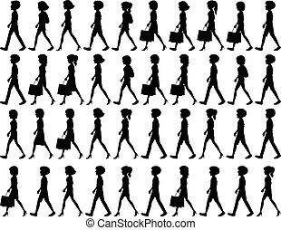 silhouette, di, persone camminando
