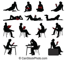 silhouette, di, persone, lettura, libri