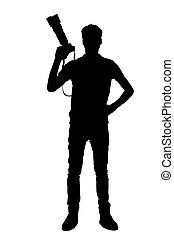 silhouette, di, photographer., piena lunghezza, silhouette, di, uomo, presa a terra, macchina fotografica digitale, mentre, standing, isolato, bianco