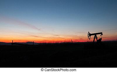 silhouette, di, pompa olio